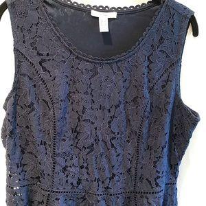 Isaac Mizrahi Handkerchief Hem Floral Lace Dress